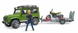 Bruder 02589 Land Rover Defender Con Rimorchio E Scrambler Ducati Completo Valvola Farfalla