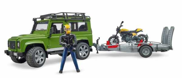 Bruder (02589) - JEEP LAND ROVER DEFENDER RIMORCHIO DUCATI