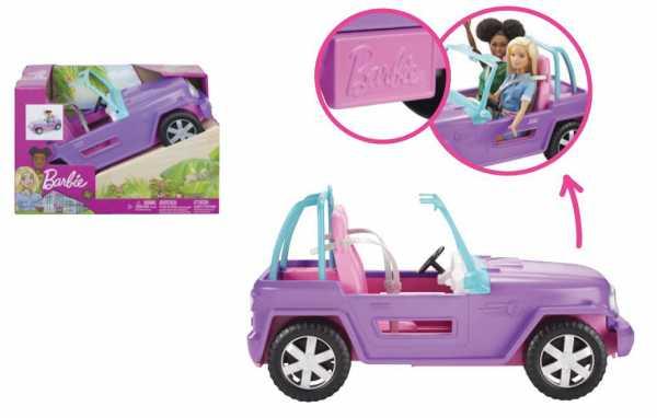 Barbie- Veicolo Jeep Da Spiaggia Giocattolo Per Bambini 3+ Anni, GMT46